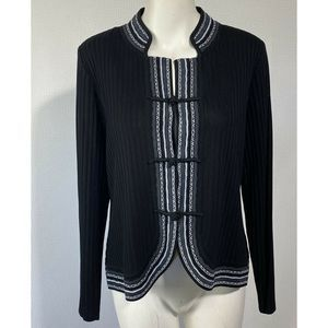 Exclusively Misook Sweater Ribbed Cardigan Black